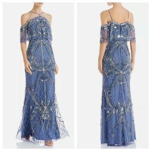 NEW AIDAN MATTOX Blue Gray Cold Shoulder Beaded Sequin Formal Gown Maxi Dress 2